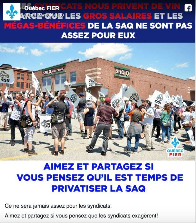 """""""It will never be enough for unions"""" reads the caption to this post calling for the privatization of the provincial government-owned SAQ. """"Like and share if you think unions exaggerate!!"""""""