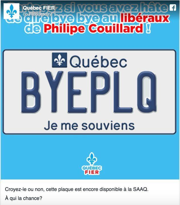 """""""Believe it or not, this plate is still available. Who wants it?"""" reads the caption. PLQ stands for Parti libérale de Québec."""