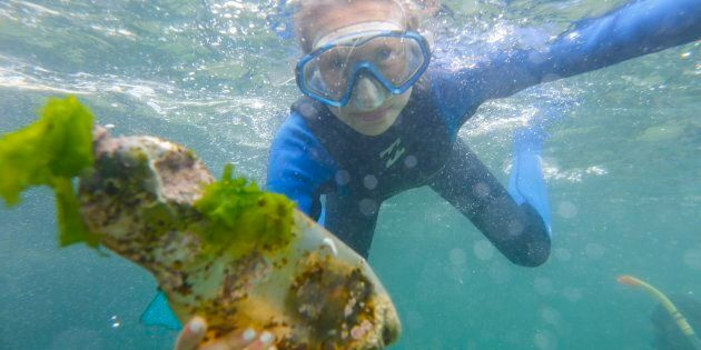 A South African snorkler picks up a plastic bottle from the sea bed of the Indian Ocean off Millers Point...