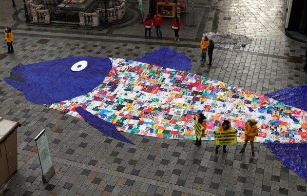 Some 800 shopping bags made of plastic sewn together in the shape of a fish are laid out by environmental...