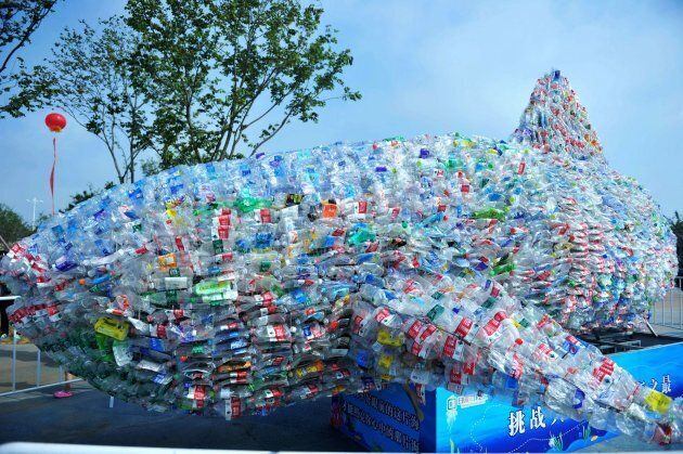 A view of an art installation made of about 40,000 waste plastic bottles collected from the beach during...