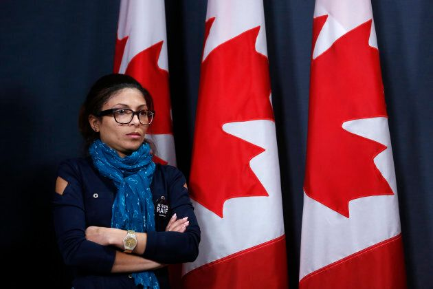 Ensaf Haidar takes part in a news conference calling for the release of her husband, Raif Badawi, in Ottawa on Jan. 29, 2015.