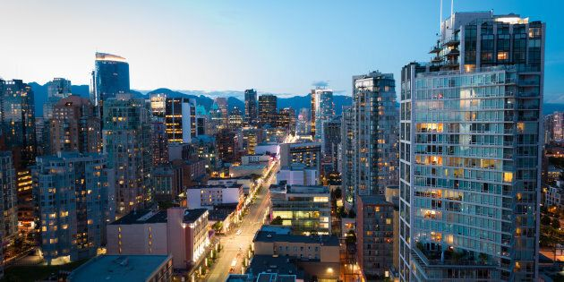 Downtown Vancouver at dusk. The city has the lowest property tax rate of any major municipality in North...