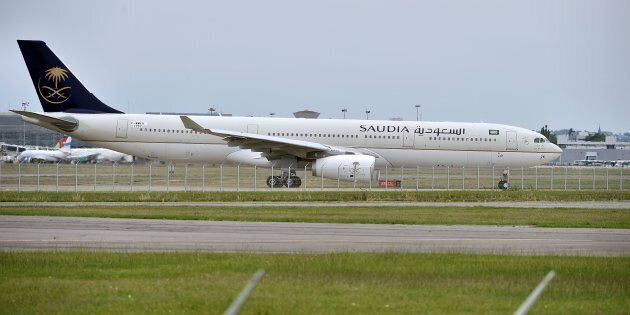 An Airbus A330 of Saudia, also known as Saudi Arabian Airlines, lands in Toulouse, on July 22,
