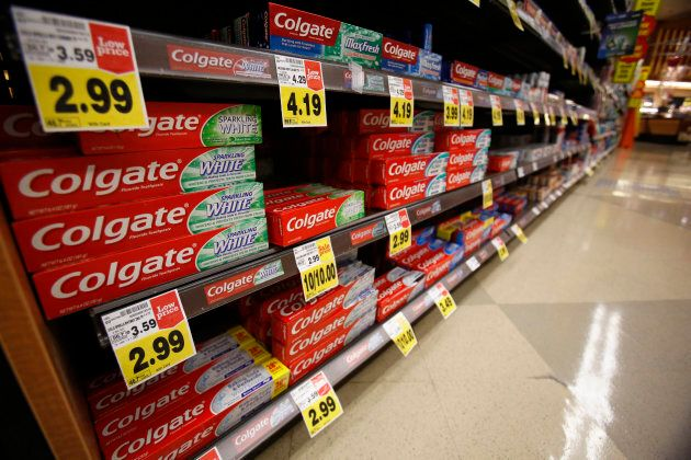 Colgate toothpaste is pictured on sale at a grocery store in Pasadena, California Jan. 30,