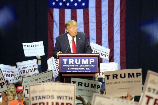 U.S. Republican presidential candidate Donald Trump speaks at a rally in Birmingham,