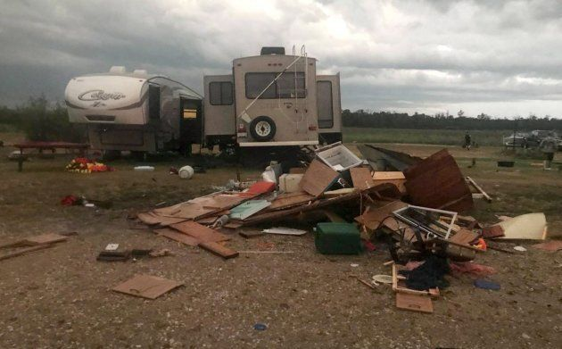 Debris is strewn about after a tornado in Alonsa, Manitoba on August 3, 2018. Residents are frustrated...