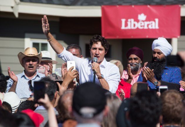Prime Minister Justin Trudeau speaks at a Liberal Party barbecue in Delta, B.C., on