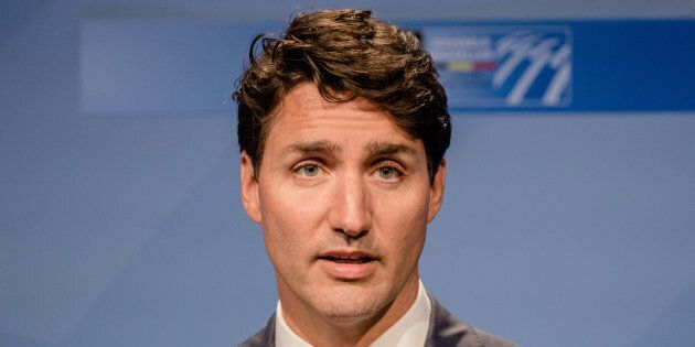 Justin Trudeau speaks during a news conference at the North Atlantic Treaty Organization (NATO) summit in Brussels on July 12, 2018.