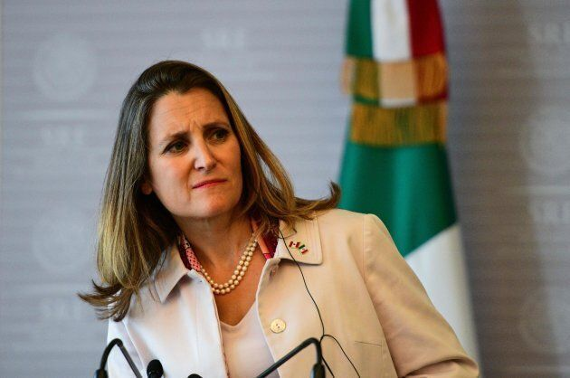 Canadian Minister of Foreign Affairs, Chrystia Freeland, at a press conference in Mexico City, on July...