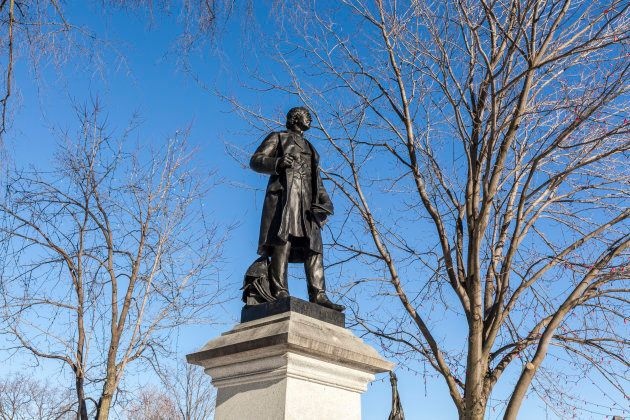 A statue of Sir John A. Macdonald on Parliament Hill in Ottawa. Victoria B.C.'s removal of a statue of...