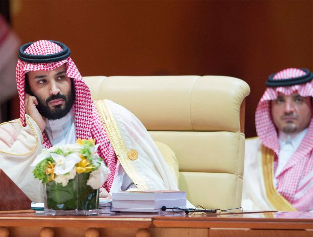 Saudi Arabia's Crown Prince Mohammed bin Salman attends during the 29th Arab Summit in Dhahran, Saudi...