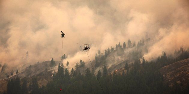 The Snowy Mountain wildfire, currently the largest in B.C., is visible from Cawston, B.C., Aug. 2,