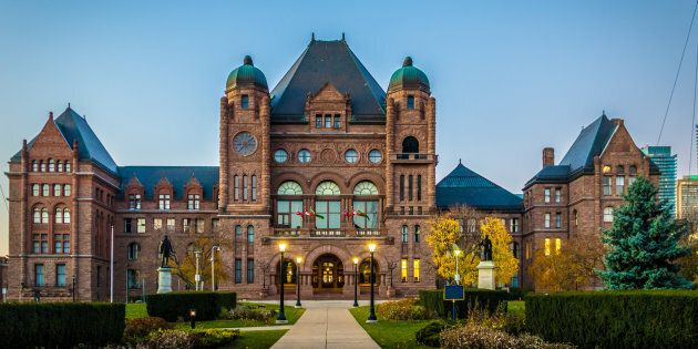 A photo of the Ontario legislature building in Queen's Park in