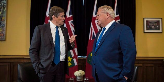 Ontario Premier Doug Ford and Toronto Mayor John Tory meet inside the Premier's office at Queen's Park...