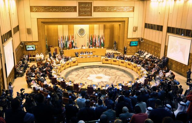 Foreign ministers of the Arab League take part in an emergency meeting after Saudi Arabia blocked a plan...