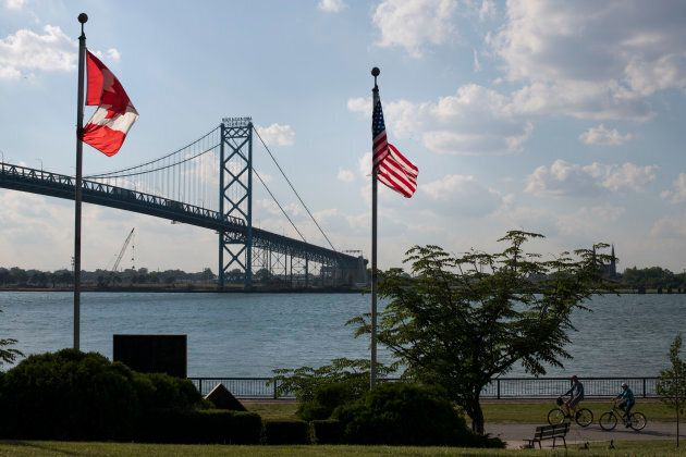The Ambassador Bridge, the connecting bridge at the U.S. border to Detroit, Mich., seen from Windsor,...