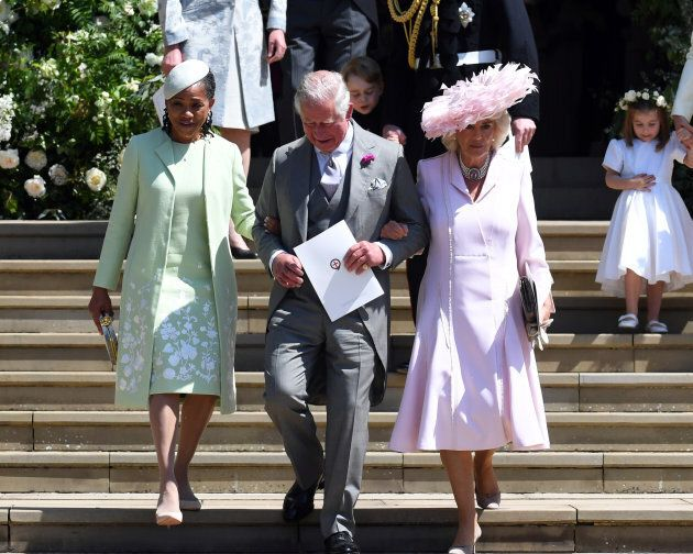 Doria Ragland with Prince Charles and Camilla, Duchess of Cornwall, at Meghan Markle's wedding to Prince
