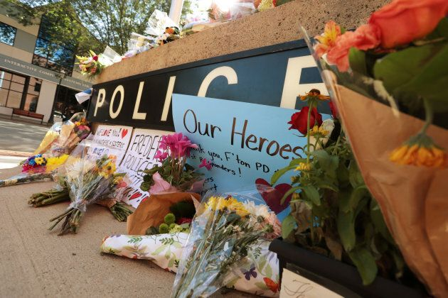 A makeshift memorial has been forming outside Fredericton Police Headquarters in Fredericton, New