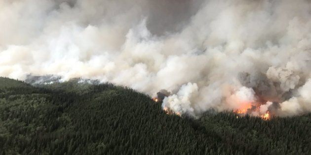 The South Stikine River fire burns in an Aug. 6, 2018 handout photo provided by the BC Wildfire