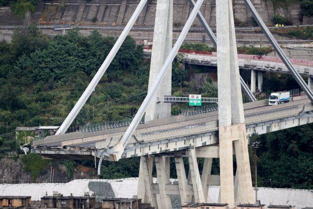 The collapsed Morandi Bridge is seen in the Italian port city of Genoa, Aug. 14,