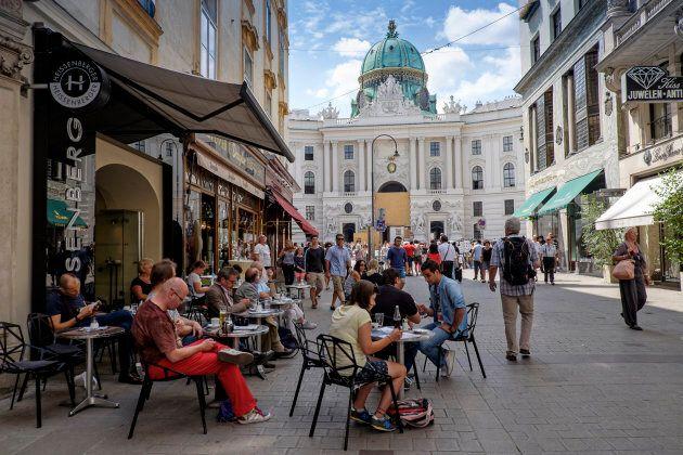 A cafe in downtown Vienna, Austria.