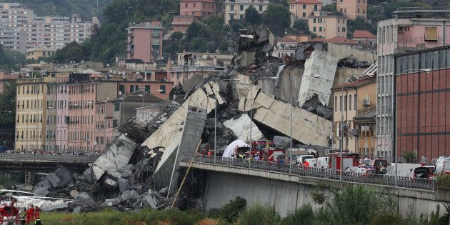 The collapsed Morandi Bridge is seen in the Italian port city of Genoa, Aug. 14,