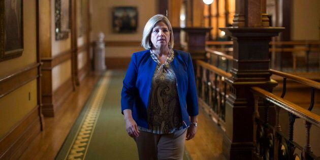 NDP Leader Andrea Horwath walks to her office following question period at the Ontario Legislature in...