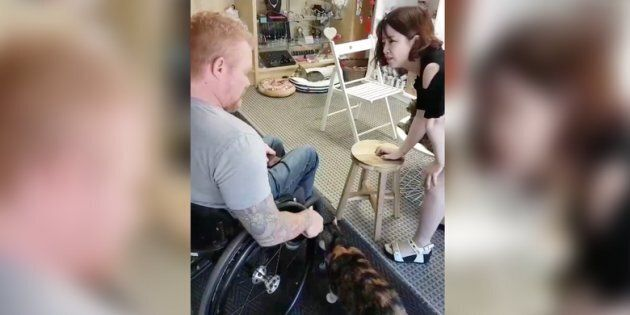 Paralympian and law student Jeff Adams spent an uncomfortable few hours at Meow Cat Café in Toronto after hearing the business turned away a 16-year-old because he uses a wheelchair.