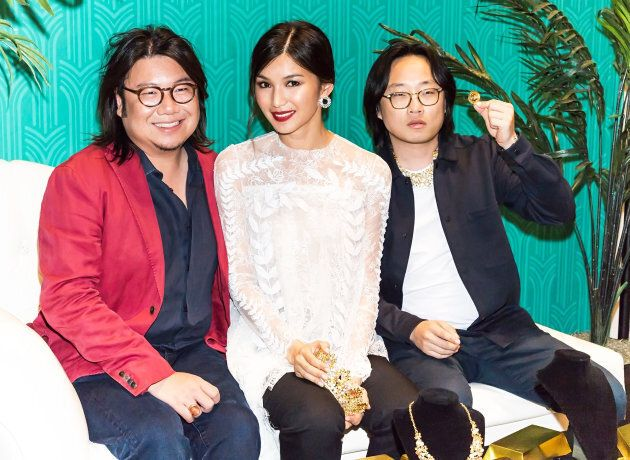 Kevin Kwan with actors Gemma Chan and Jimmy O. Yang at the 'Crazy Rich Asians' screening at The Prince...