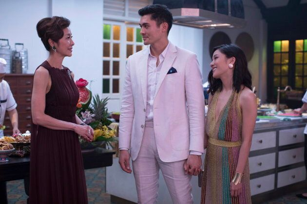 Michelle Yeoh, Henry Golding and Constance Wu in a scene from the film