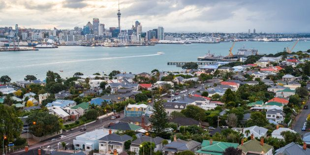 The skyline of Auckland, New Zealand, with the suburb of Devonport in the foreground. New Zealand has...