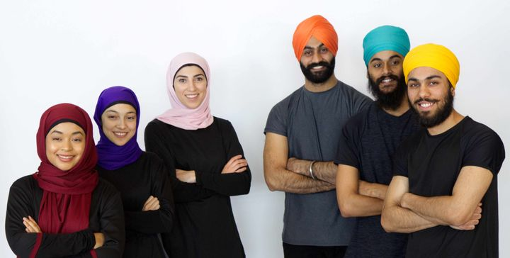 Thawrih team members: Sawsan Abu-Oshaibah (centre in pink hijab), Pavneet Ahluwalia (centre in turquois turban), Shaymaa El-Gayaar (left in purple hijab), Lovepreet Singh Dhillon (right in orange turban).