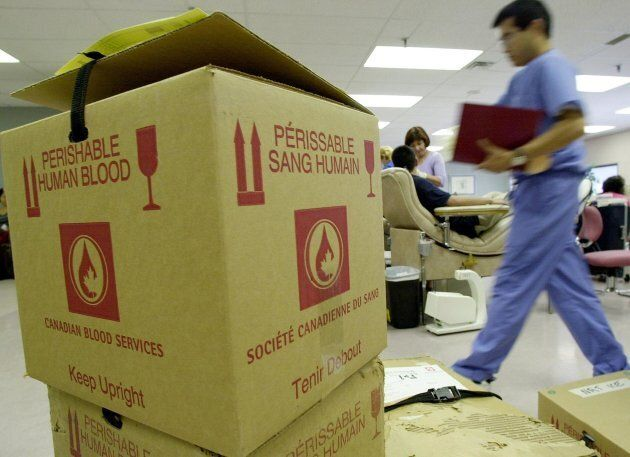 Boxes of donated blood await pickup in Toronto following the Sept. 11, 2001 terrorist attacks in New York. Blood donations tend to go up after disastrous events.