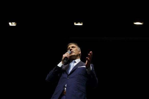 Maxime Bernier speaks during the final Conservative Party of Canada leadership debate in Toronto on April...
