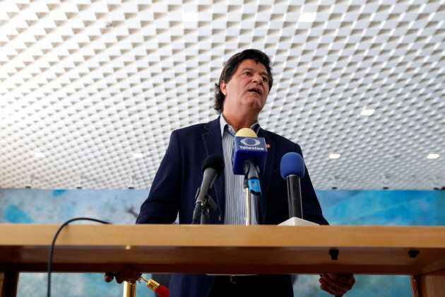 Jerry Dias, head of Canada's private sector union Unifor, speaks to journalists in Mexico City on March...