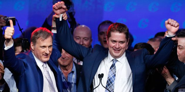 Maxime Bernier celebrates with Andrew Scheer after Scheer's Conservative Party of Canada leadership convention...
