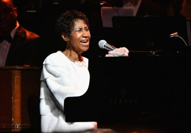 Aretha Franklin performs onstage at the Elton John AIDS Foundation on Nov. 7, 2017 in New York