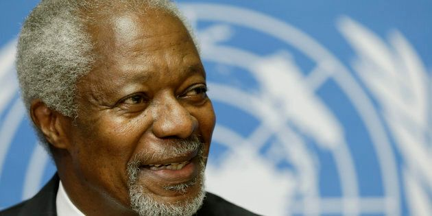 Kofi Annan smiles during a news conference at the United Nations in Geneva on Aug. 2,