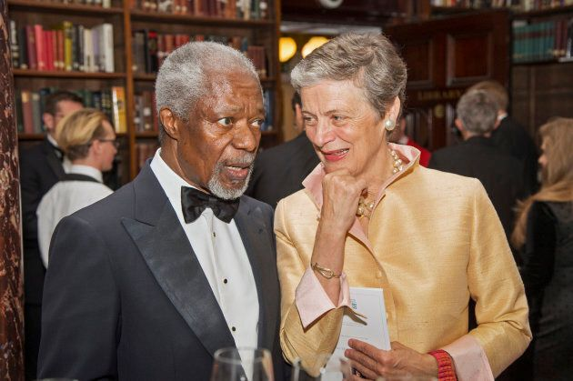 Former UN secretary-general Kofi Annan and his wife Nane at the Banqueting House in London on Nov.21,
