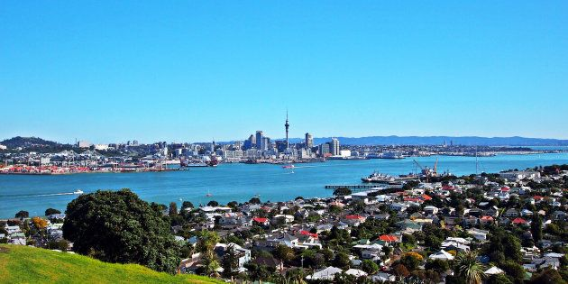 The Auckland, New Zealand, skyline as seen from the suburb of Devonport. New Zealand's ban on non-residents...