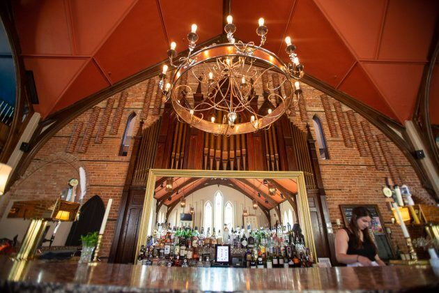 The bar sits in front of an old pipe organ at the Revival House restaurant in Stratford, Ontario on August...