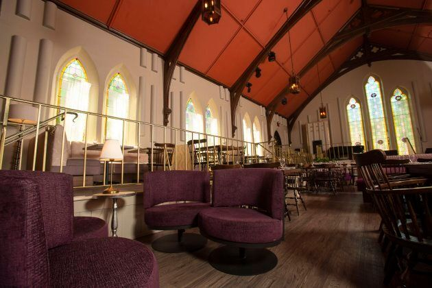 Tables are set for patrons at the Revival House in Stratford, Ontario on August 10,
