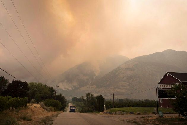 The Snowy Mountain wildfire, currently the largest in B.C., on August 2,