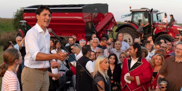 Prime Minister Justin Trudeau addresses local Liberals and Liberal MPs from the South Shore of Montreal...
