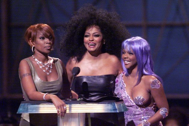 Mary J. Blige, Diana Ross and Lil' Kim present the award for Best Hip-Hop video during the 1999 MTV Music...