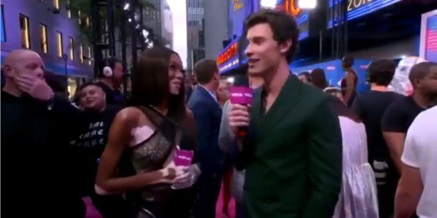 Winnie Harlow and Shawn Mendes represent Canada on the 2018 MTV VMAs pink