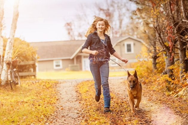 Day-to-day activities like walking the dog can be good times for teenagers to practice mindfulness.
