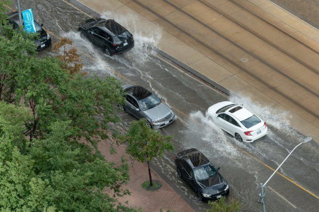 Intense rainfall caused flash flooding in Toronto's Queens Quay area on August 17,