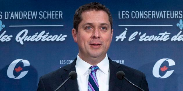 Conservative Leader Andrew Scheer responds to a question during a news conference on April 19, 2018 in